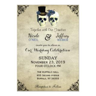 Bride & Groom Skull Goth Rustic Wedding Blue Invitation
