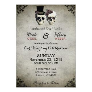 Bride & Groom Skull Goth Rustic Wedding Invitation