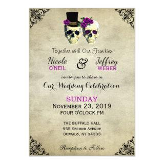 Bride & Groom Skull Goth Rustic Wedding Purple Invitation