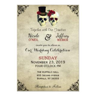 Bride & Groom Skull Goth Rustic Wedding Red Invitation