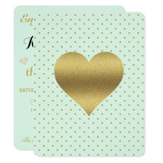 BRIDE Mint And Gold Heart Polka Dot Shower Party Invitation