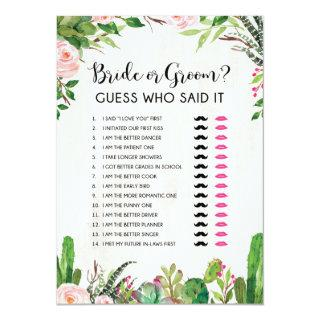 Bride or Groom He or She Fiesta Bridal Shower Game Invitation