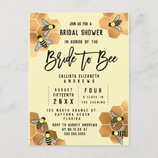 Bride to Bee Quote Gold Honeycomb Bridal Shower Invitations Postcard