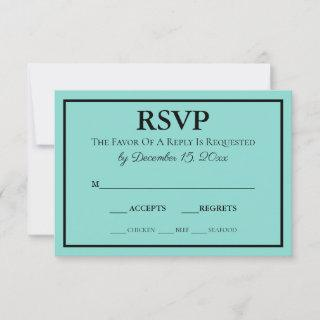Bride & Wedding Suite Modern Teal Blue RSVP Card