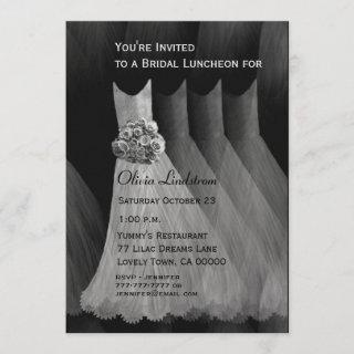 Bridesmaid Luncheon or Brunch Silver Gray Dresses Invitations