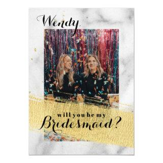 Bridesmaid Proposal Marble Background Faux Gold Invitations