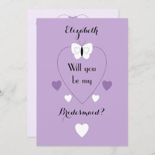 Bridesmaid purple with butterflies and hearts
