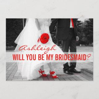 Bridesmaid | Red High Heels and Roses. Invitation