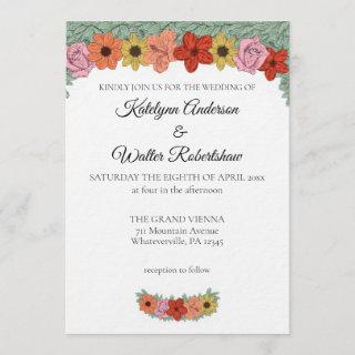 Bright and Bold Storybook Floral Wedding Invitation
