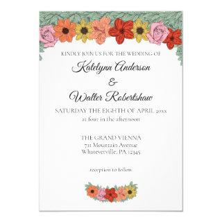 Bright and Bold Storybook Floral Wedding Invitations