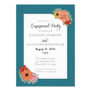 Bright and Bold Teal Blue Floral Engagment Party Invitations