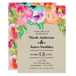 Bright Bold Colorful Floral Rustic Modern Kraft Invitations