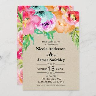 Bright Bold Colorful Floral Rustic Modern Kraft Invitation
