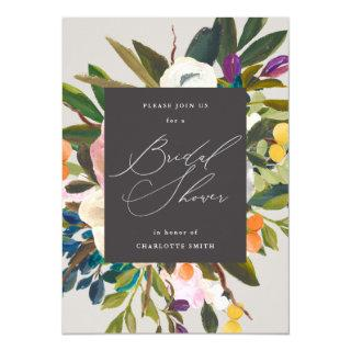 Bright Citrus Flowers | Dove Grey | Bridal Shower Invitation