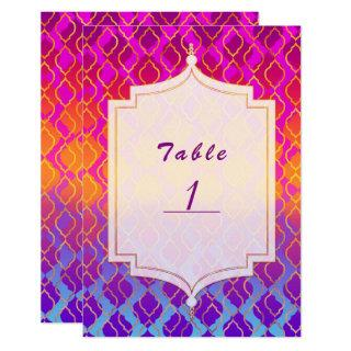 Bright Colors Arabian Moroccan Glam Table Number
