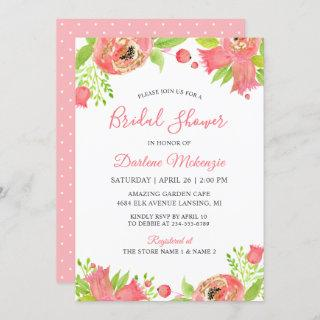 Bright Coral Pink Floral Garden Bridal Shower Invitations