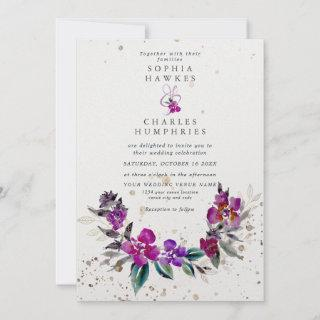Bright Floral Frame with gold detail Holiday Card