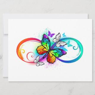 Bright infinity with rainbow butterfly save the date