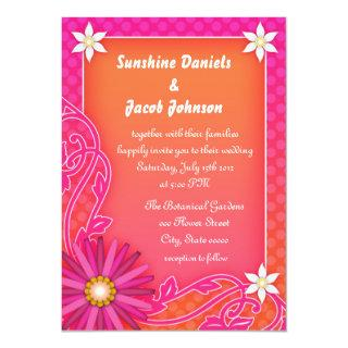 Bright Orange and Pink Summer Wedding Invitations