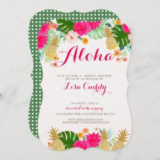 Bright Pink Tropical Bridal Shower Invitations