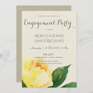 BRIGHT YELLOW WATERCOLOR FLORAL ENGAGEMENT INVITATION