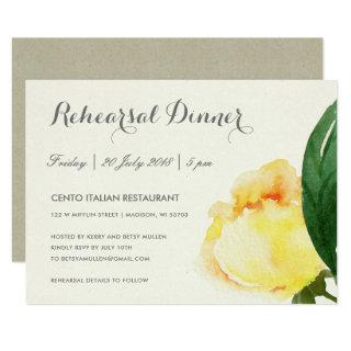 BRIGHT YELLOW WATERCOLOR FLORAL REHEARSAL DINNER INVITATION