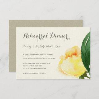 BRIGHT YELLOW WATERCOLOR FLORAL REHEARSAL DINNER Invitations