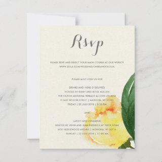 BRIGHT YELLOW WATERCOLOR FLORAL WEDDING CARD RSVP