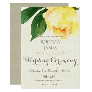 BRIGHT YELLOW WATERCOLOR FLORAL WEDDING INVITATION