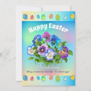 Bring a basket for the kids To collect eggs Easter Holiday Card