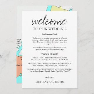 Brittany Calligraphy Welcome Letter & Map Invitations