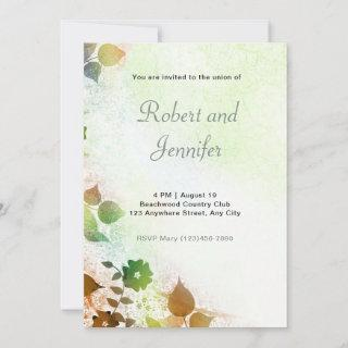 Brown and Green Floral Wedding Invitation