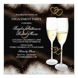 Brown Black Champagne Ring Heart Engagement Party Invitations