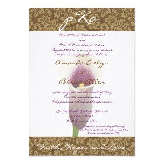 Brown Damask Wedding Inv. Invitation
