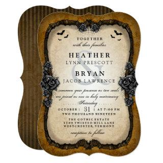 Brown Gothic Roses & Bats Halloween Wedding Invite