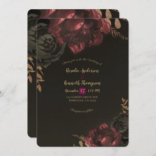 Brown Moody Dark Floral Gold Greenery Wedding Invitations