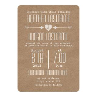 Brown Paper Inspired Arrows + Heart Rustic White Invitations