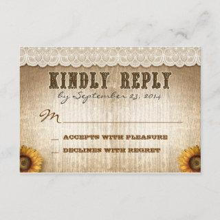 brown rustic country style wedding RSVP with lace