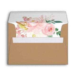 Brown Rustic Kraft Botanical Spring Floral Wedding Envelope