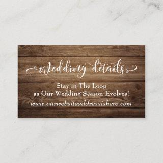 Brown Rustic Wood, Script Wedding Website Details Enclosure Card