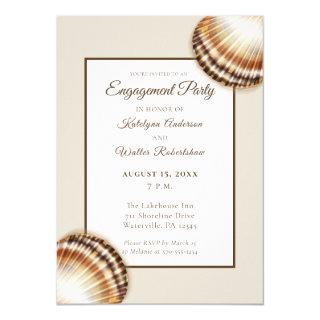 Brown Seashells Beach Themed Engagement Party Invitation