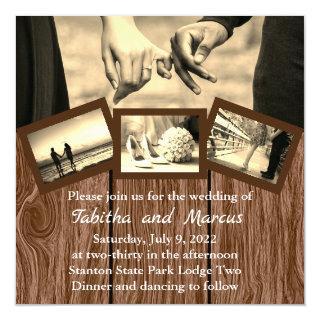 Brown Wood Planks with Four Photos Invitation