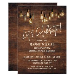 Brown Wood Wall with Edison Lights Let's Celebrate Invitations