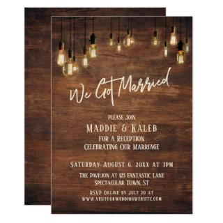 Brown Wood Wall with Edison Lights, We Got Married Invitations