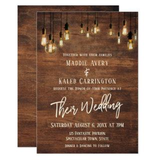 Brown Wooden Wall Edison Lights Typography Wedding Invitation