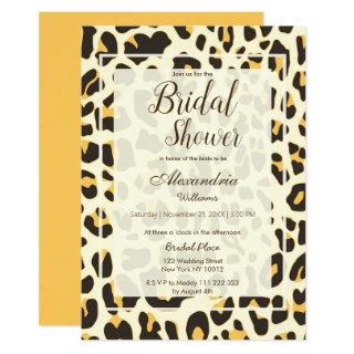 Brown yellow ivory animal print Bridal Shower Invitation