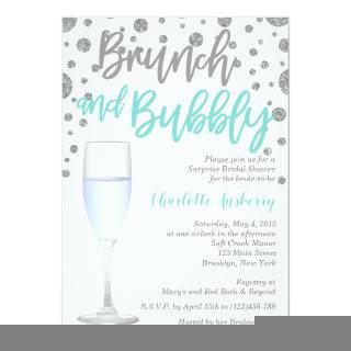 Brunch and Bubbly Aqua Bridal Shower Invitations