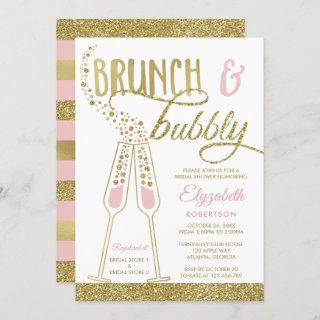 Brunch and Bubbly Bridal Shower Invite, Faux Gold Invitation
