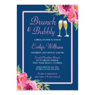 Brunch and Bubbly Bridal Shower Navy Pink Floral Invitation