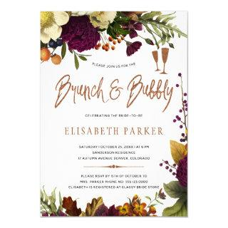 Brunch and bubbly fall floral gold bridal shower Invitations